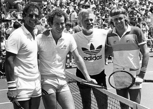 Morty Raynes and John McEnroe, who defeated Kenny Rogers and Bjorn Borg during the Aspen Tennis Fest, a fundraiser for the National Cerebral Palsy Foundation. This image was published Aug. 4, 1983, in The Aspen Times.