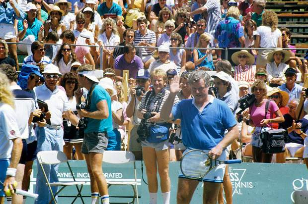 Ted Kennedy on the court at the Aspen Tennis Festival, July 1984.