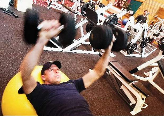 Levi Borst, now a deputy with the Pitkin County Sheriff's Office, pumping iron at the Aspen Club in November 2005.