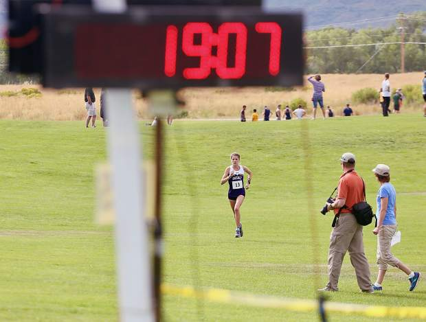 Basalt High School junior Sierra Bower competes in the Longhorn Invitational on Saturday, Aug. 24, 2019, at Crown Mountain Park. Bower won the season-opening cross country race in 19:21.6. (Photo by Austin Colbert/The Aspen Times)