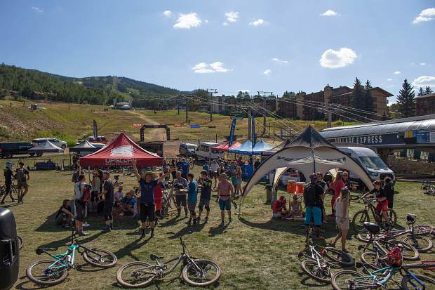 Mountain bikers gather for the Big Mountain Enduro series on Sunday, Aug. 18, 2019, in Snowmass Base Village.