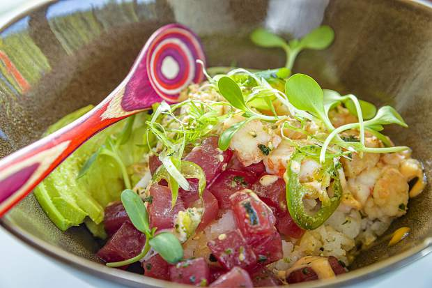 The J Bowl combines tuna, shrimp, crab and sticky rice