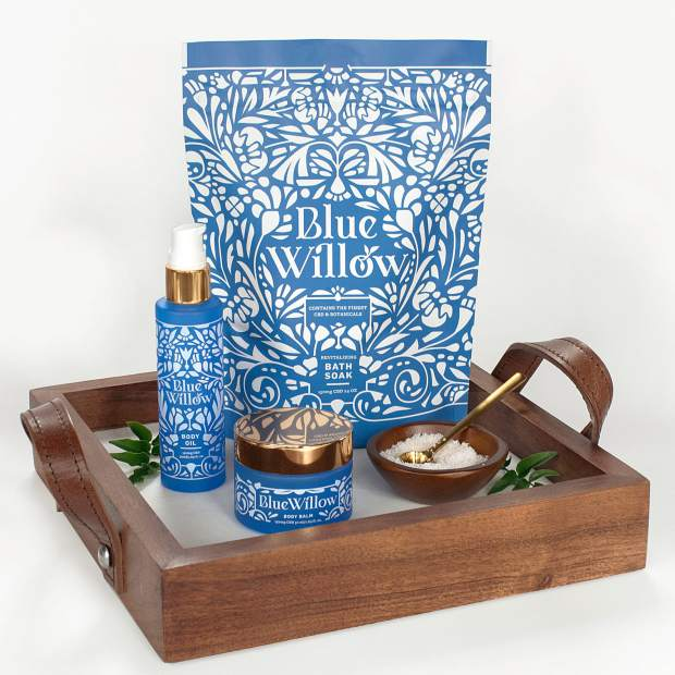 Blue Willow's trio of products includes a Body Balm ($68), Body Oil ($65), and Bath Soak ($48).