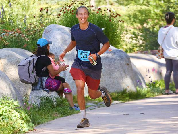 California's Skyler Matthews approaches the finish line of the Aspen Backcountry Half Marathon on Saturday, Aug. 10, 2019, at Rio Grande Park. (Photo by Austin Colbert/The Aspen Times)