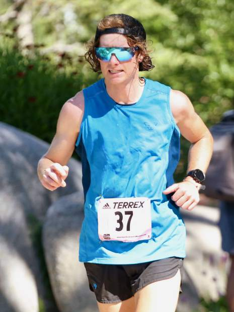 Aspen's T.J. David approaches the finish line of the Aspen Backcountry Marathon on Saturday, Aug. 10, 2019, at Rio Grande Park. (Photo by Austin Colbert/The Aspen Times)