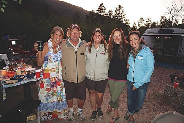 Julie Hardman, Difficult Campground summer hosts Rob Moore and Staci Blunt, Kathy Fry and Maggie Gloor.
