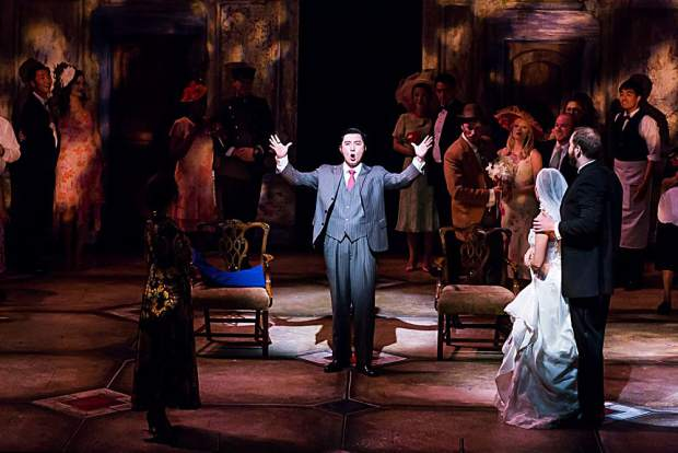 "Xiaomeng Zhang as Count Almaviva in Aspen Opera Theater's production of Mozart's ""Le Nozze di Figaro"""