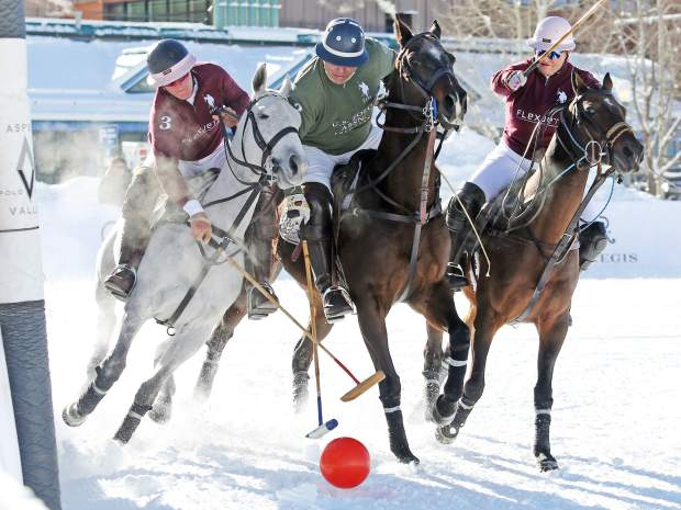 A match is played during the 2016 World Snow Polo event at Rio Grande Park in Aspen. (Photo by Austin Colbert/The Aspen Times)