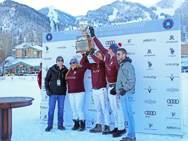 Awards are handed out during the 2016 World Snow Polo Championship at Rio Grande Park in Aspen. (Photo by Austin Colbert/The Aspen Times)