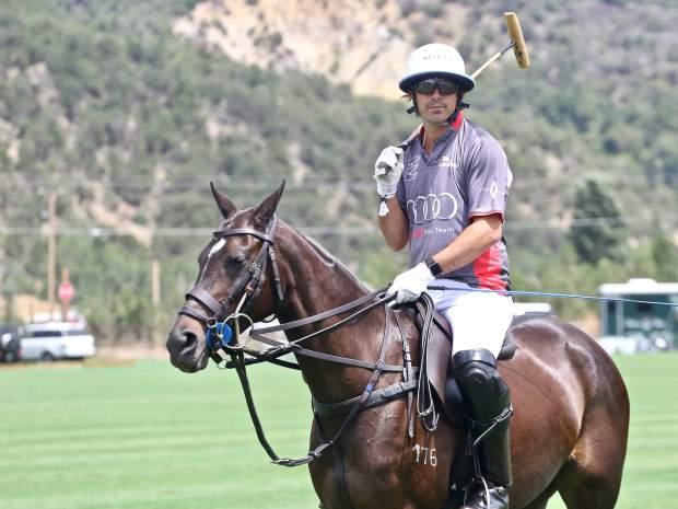 Polo star Nacho Figueras awaits play during the Aspen Valley Polo Club's Chukkers, Champagne & Caviar fundraiser for the Aspen Valley Hospital Foundation on Sunday, Aug. 11, 2019, at McClure River Ranch near Carbondale. (Photo by Austin Colbert/The Aspen Times)