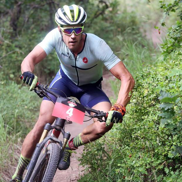 Jonathan Atwell competes in the Power of Four mountain bike race on Saturday, July 28, 2018. He finished ninth overall. (Photo by Austin Colbert/The Aspen Times).
