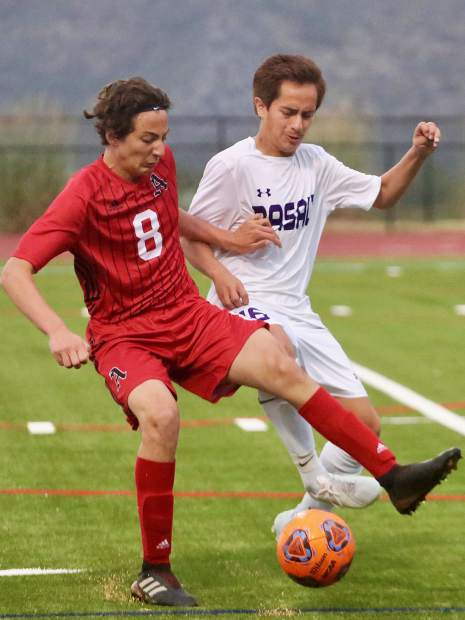 The Aspen High School boys soccer team hosts Basalt in its season opener on Thursday, Aug. 30, 2019, on the AHS turf. The Longhorns won 2-1 in overtime. (Photo by Austin Colbert/The Aspen Times)