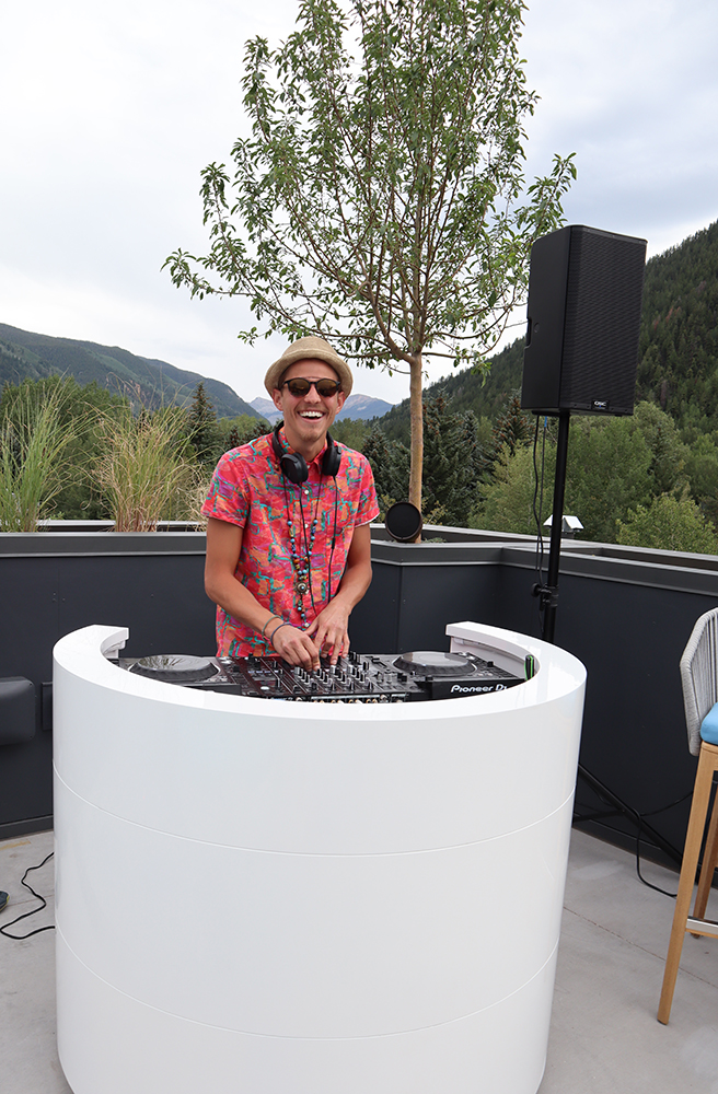 DJ Kevin Joyal spinning on the rooftop for the W Aspen's debut.