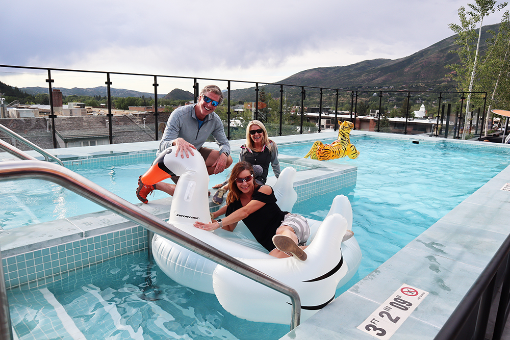 Rob Ketterson, Kristin Hill and Heather Kroeger investigate the W Aspen pool.