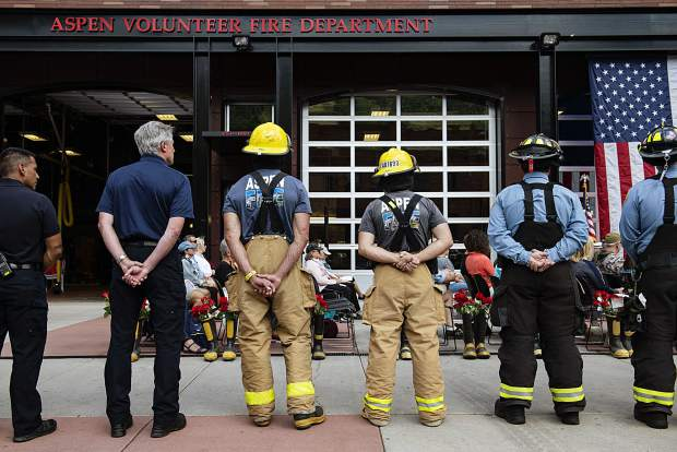 Aspen firefighters line up next outside of the Aspen Fire Department during the annual day of remembrance event on Wednesday, September 11, 2019. (Kelsey Brunner/The Aspen Times)