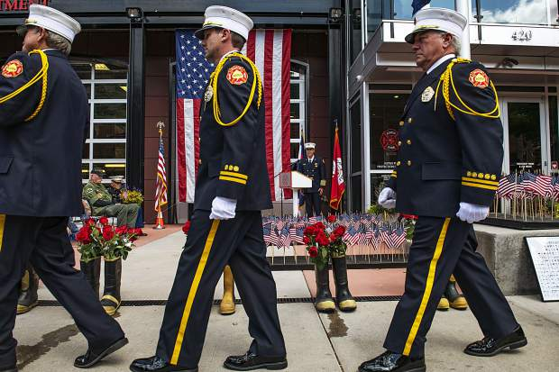 The Aspen Fire Honor Guard processes out after the annual day of remembrance event at the Aspen Fire Department on Wednesday, September 11, 2019. (Kelsey Brunner/The Aspen Times)