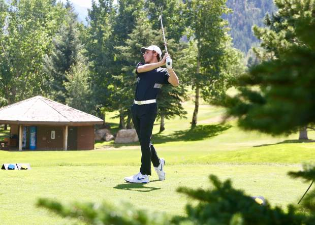 Aspen High School senior Jack Pevny tees off on the 17th hole on Tuesday, Sept. 3, 2019, during the Skiers' home tournament at Aspen Golf Club.