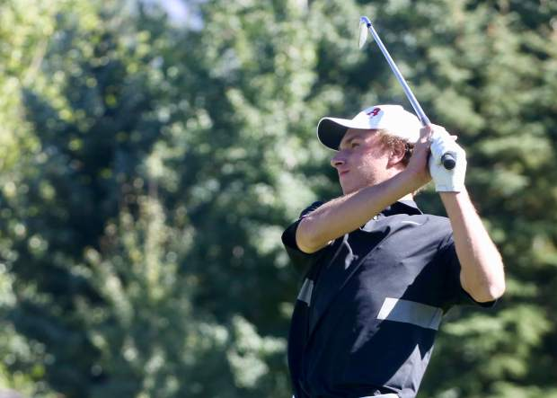Aspen High School senior Jack Pevny tees off on the 17th hole at the Class 3A golf regional on Wednesday, Sept. 25, 2019, at Aspen Golf Club. (Photo by Austin Colbert/The Aspen Times)