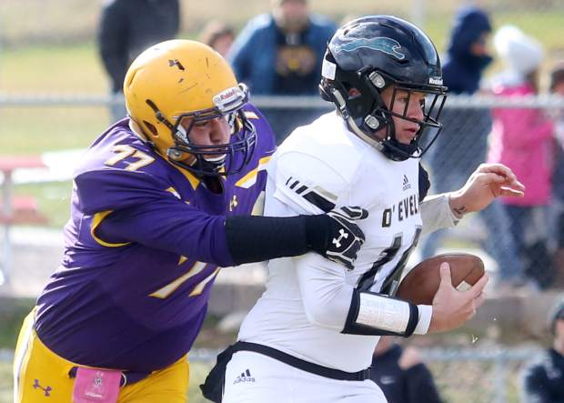 Basalt football plays a playoff game against D'Evelyn on Saturday, Nov. 3, 2018, in Basalt. (Photo by Austin Colbert/The Aspen Times).