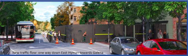 A rendering of what the construction site at the Crystal Palace will look like from Hyman Avenue.