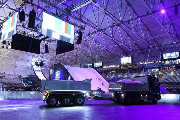 The Telenor Arena outside of Oslo, Norway, over the weekend hosted the first-ever on-snow big air competition where a competitor enters the arena from outside, above the roof, on a water ramp, before transitioning to real snow on an indoor jump and landing.