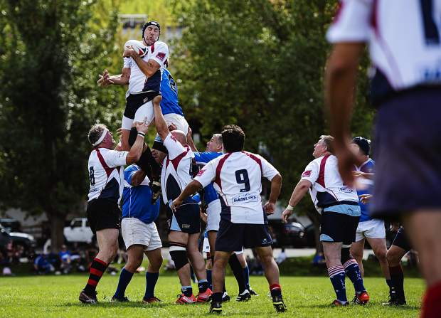 Boulder Rugby's Christian Kaempfer receives a lineout during the match against KC Blues Brothers at Wagner Park in Aspen on Friday, September 20, 2019. (Kelsey Brunner/The Aspen Times)