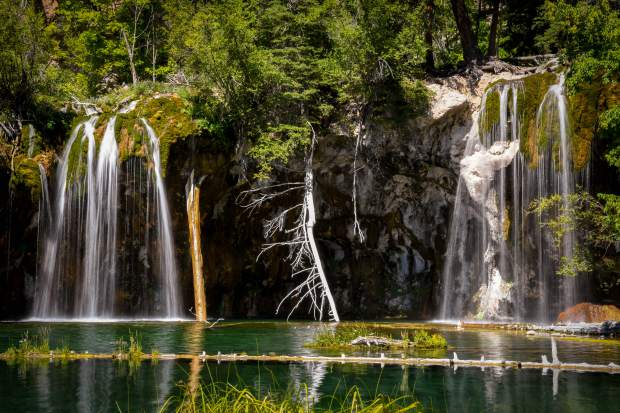 The popular Hanging Lake located just east of Glenwood Springs in Glenwood Canyon.