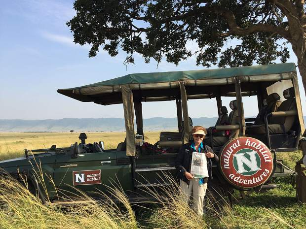 Fran Pieck of Snowmass and Vero Beach , Florida, brought The Aspen Times with her while on safari in the Masai Mara , Kenya, watching the wildebeest migration. Email your
