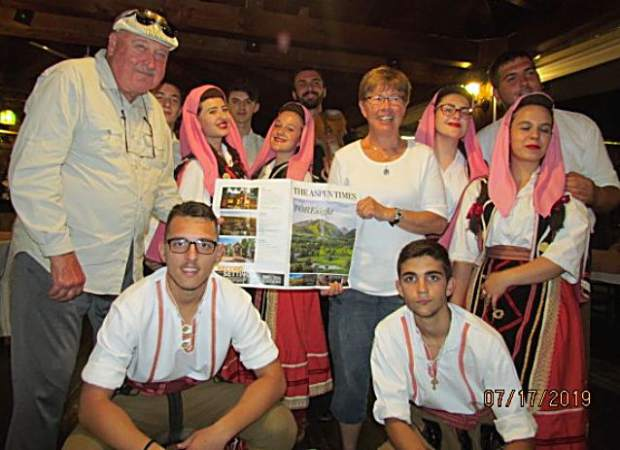 Carbondale residents Uwe and Nancy Bobrow recently visited Northern Greece, Albania and the Republic of North Macedonia. While at the Lake Ohrid area of Macedon, the couple was entertained by al folklore group comprised of kids in local costumes and proud of their cultural past. Joining the group for the photo shoot was a copy of The Aspen Times.