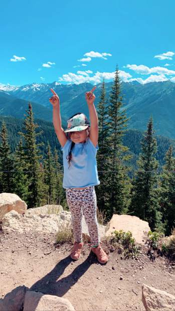 Nyra Desai, 4, of Dallas, recently celebrated making it to the top of Aspen Mountain. Desai hiked the mountain unassisted, but with parental supervision, via the Ute and Ajax trails.