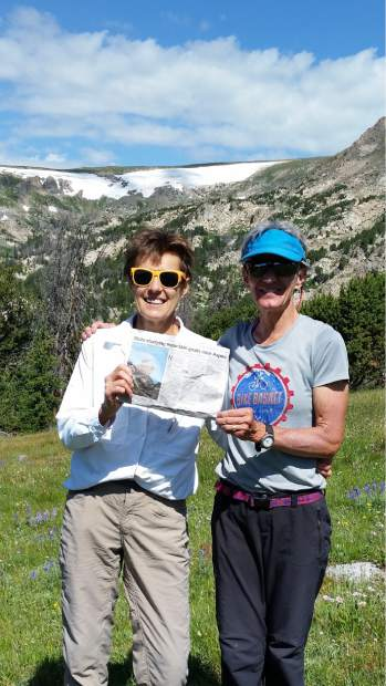 Catherine Cussaguet of Bozeman (former Aspen resident) and Helen Carlsen of Basalt hiking on Beartooth Pass in Montana. Email your