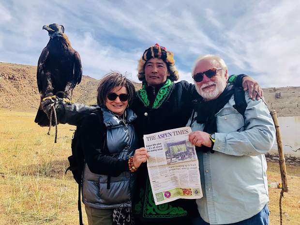 Readers Lee and Steve Rittvo recently attended the Altai Eagle Festival in Mongolia on the border with Kazakhstan. Joining them for this photo with The Aspen Times was an eagle hunter, Kanat, with whom the couple spent five days in a ger, a Mongolian nomadic tent. Email your