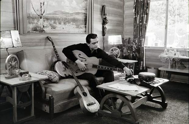 This image released by PBS shows Johnny Cash at his home in California, used in the Ken Burns documentary,