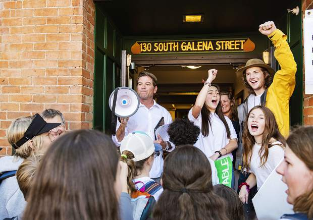 Aspen Mayor Torre, left, waits to direct students through City Hall to have a discussion about their climate concerns in Aspen on Friday, September 20, 2019. (Kelsey Brunner/The Aspen Times)