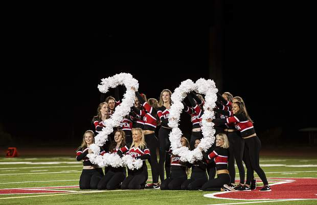 Aspen High School's spirit and dance team performs at halftime during the homecoming game in Aspen on Friday, Sept. 27, 2019. (Kelsey Brunner/The Aspen Times)