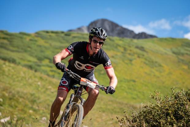 Zach Guy of Estes Park takes part in the Grand Traverse mountain bike race on Sunday, Sept. 1, 2019, which goes from Aspen to the finish in Crested Butte. (Photo by Xavier Fane/courtesy)