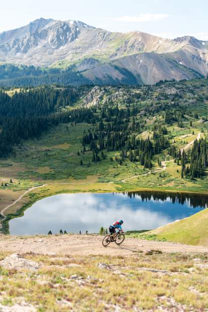 A racer takes part in the Grand Traverse mountain bike race on Sunday, Sept. 1, 2019, which goes from Aspen to the finish in Crested Butte. (Photo by Petar Dopchev/courtesy)