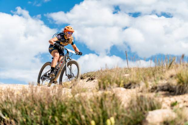 Katie Sodergren takes part in the Grand Traverse mountain bike race on Sunday, Sept. 1, 2019, which goes from Aspen to the finish in Crested Butte. (Photo by Petar Dopchev/courtesy)