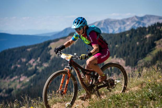 Marlee Dixon takes part in the Grand Traverse mountain bike race on Sunday, Sept. 1, 2019, which goes from Aspen to the finish in Crested Butte. (Photo by Xavier Fane/courtesy)
