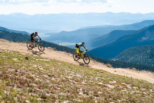 Racers take part in the Grand Traverse mountain bike race on Sunday, Sept. 1, 2019. The annual race started with a foot race from Crested Butte to Aspen on Saturday, and finished with the bike race from Aspen back to Crested Butte. (Photo by Petar Dopchev)