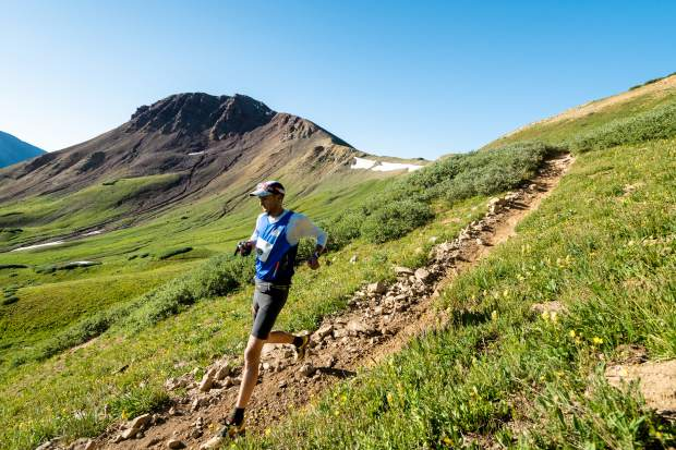 John O'Neill of Lafeyette takes part in the Grand Traverse foot race on Saturday, Aug. 31, 2019, which goes from Crested Butte to Aspen. (Photo by Petar Dopchev/courtesy)