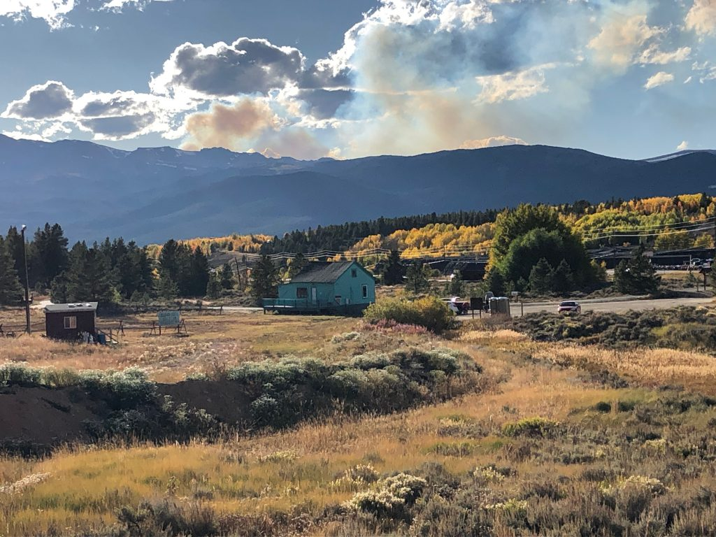 Smoke from the Granite Lakes Fire in the Fryingpan Valley was visible from the Leadville area looking west on Saturday.