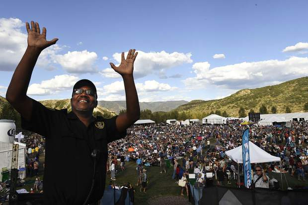 Security guard Reginal Johnson, of Virginia, enjoys the music and his first visit to the JAS Labor Experience in Snowmass VIllage.
