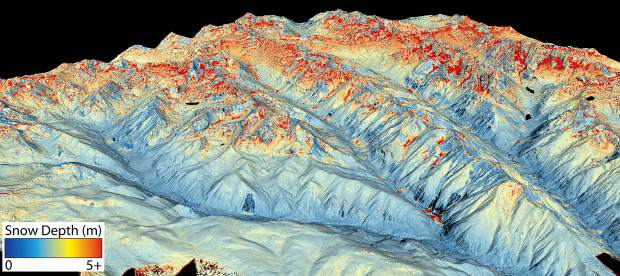 This map shows the snowpack depth of Castle and Maroon valleys. The map was created with information from NASA's Airborne Snow Observatory, which will help water managers make more accurate streamflow predictions.