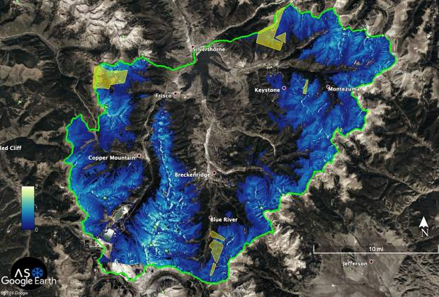 This computer rendering of the flight data gathered June 24, shows the snowpack above Dillon Reservoir in the Blue River Basin. Denver Water used the information gathered from the flight to determine 114,000 acre-feet of water was left in the snowpack and adjust reservoir operations accordingly.