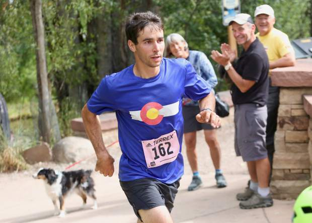 Aspen's Noah Hoffman, a retired cross-country skier and two-time Olympian, comeptes in the Aspen Backcountry Marathon earlier this summer. (Photo by Austin Colbert/The Aspen Times)