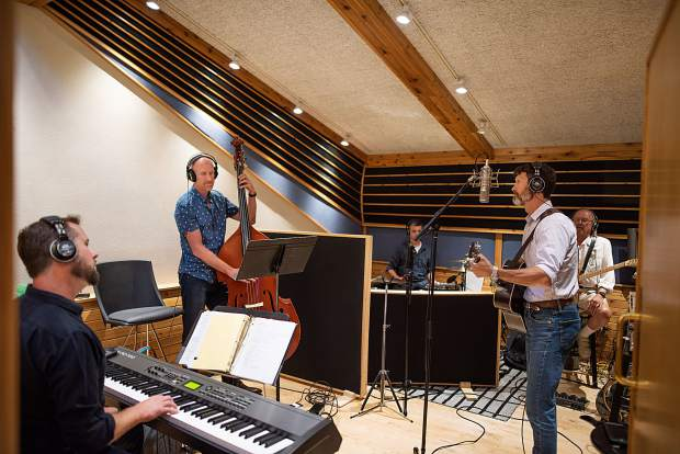 Members of the Derek Brown Band recording at Mad Dog Studios in Old Snowmass on Aug. 14.