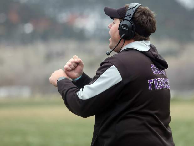 Basalt football coach Carl Frerichs calls a play from the sideline against Platte Valley in the 2018 state quarterfinals in Basalt. (Photo by Austin Colbert/The Aspen Times).
