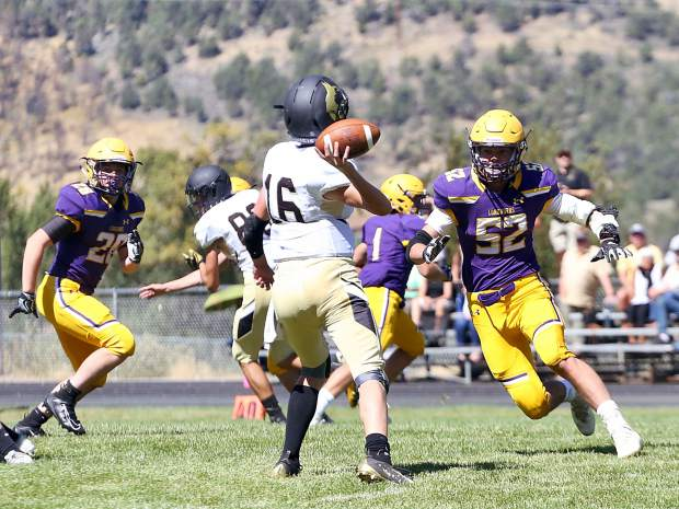 Basalt High School football plays against Battle Mountain on Saturday, Sept. 14, 2019, on the BHS field. The Longhorns won, 28-0. (Photo by Austin Colbert/The Aspen Times)