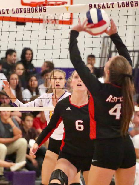 Basalt High School volleyball plays against Aspen on Thursday, Sept. 19, 2019, inside the BHS gymnasium. (Photo by Austin Colbert/The Aspen Times)